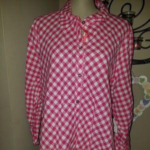 NWT Rafaella Weekend Sz 2X Pink & White Shirt